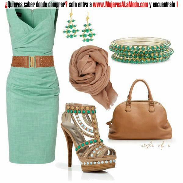 Vestido verde: Shoes, Colors Combos, Mint Green, Outfit, Love It, Emeralds Earrings, Currently, The Dresses, Green Dresses