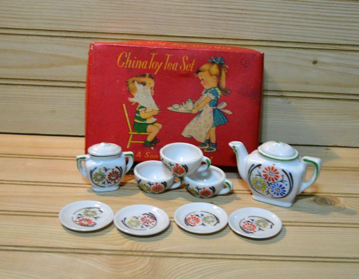 Vintage Sonsco China Toy Tea Set Kids Children Made in Japan by grannysbackporchvint on Etsy