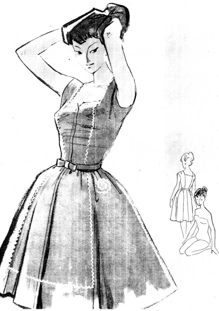 FREE Vintage 1950s Dress Sewing Draft Pattern. Yup, actually free - one page in Russian, pattern for a 83 cm waist so some adjustments needed
