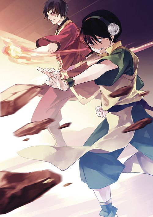 OMIGOSH! Toph and Zuko! THE TWO COOLEST CHARACTERS IN AVATAR! IN ONE PICTURE!! OMIGOSH!!!!