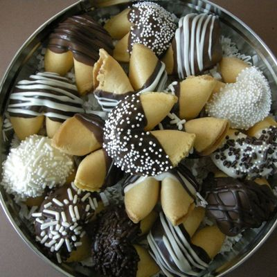 Excite your fortune cookies by dipping them in chocolate! #ChineseNewYear #Festive