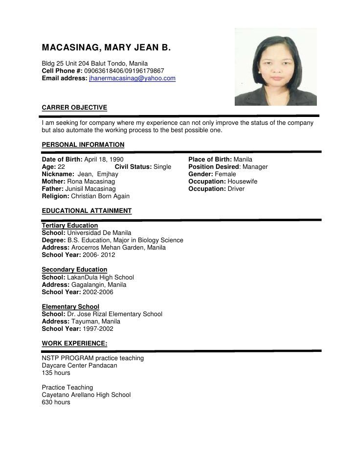 Resume Format Examples Sample Of Resume Format For Job