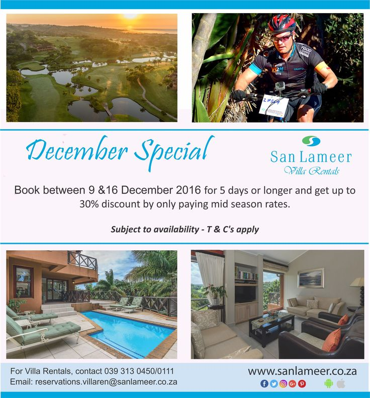 Only a week to go until our December special kicks off. Tell the family to cancel their other plans as you are coming to San Lameer.