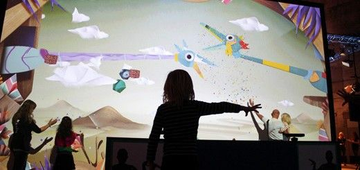Puppet Parade is an installation that turns your hands into giant, animated puppetsVirtual Puppets, Shadows Puppets, Interactive Design, Interactive Kinect, Interactive Installations, Parada Ideas, Design I O', Puppets Installations, Puppets Parade