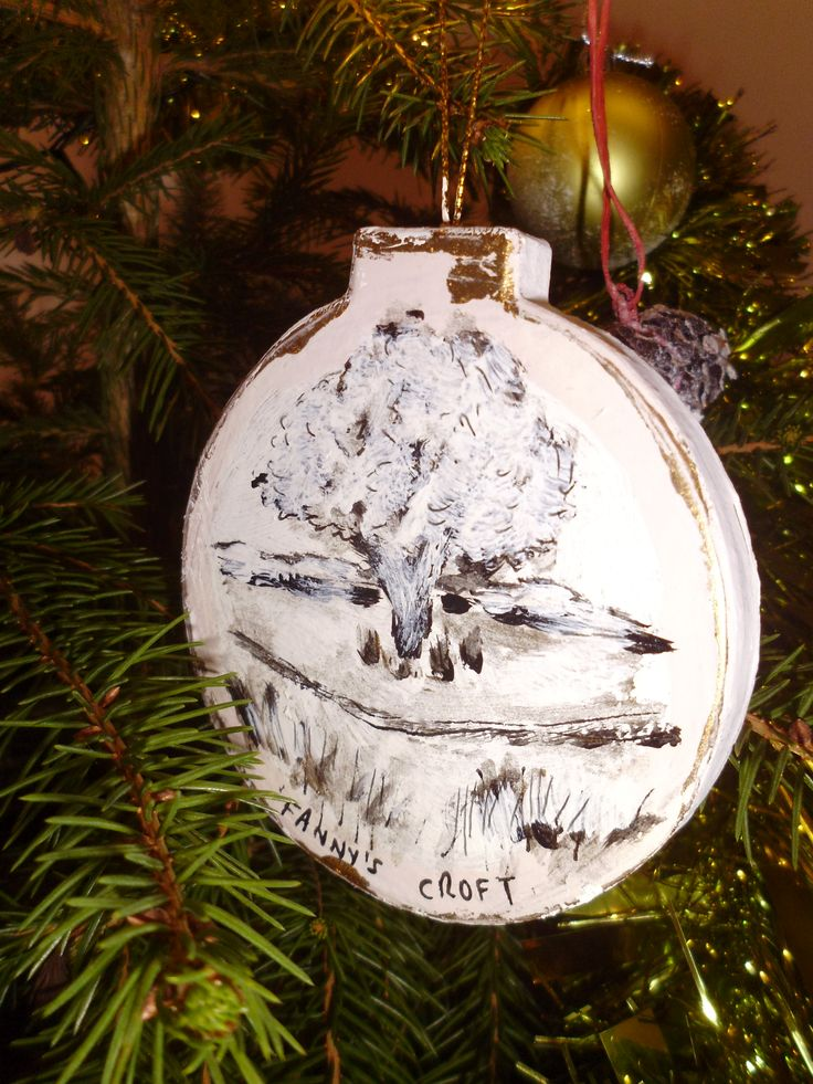 Fanny's Croft 'local scenes bauble' for Alsager Town Council's Christmas tree, November 2015. Local scenes done in black ink then glazed.