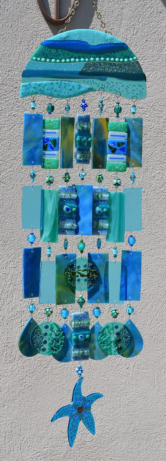 Kirks Glass Art Fused Stained Glass Wind Chime windchimes