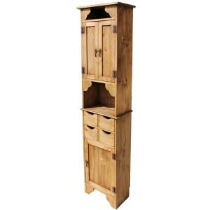 If you have a narrow spot in your home and need more storage, this rustic Mexican cabinet is the ideal solution.  There is one large compartment on the bottom perfect for a large blender or other appliance.  There are four solid rustic pine drawers for small miscellaneous items, a small open shelf, three shelves in the top cabinet and then another small open shelf on top...lots of room for spices or other cooking products.