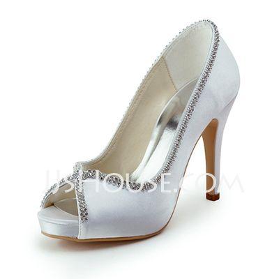 [DKK 390] Kvinder Satin Kegle Hæl Kigge Tå Platform sandaler med Perlebroderi