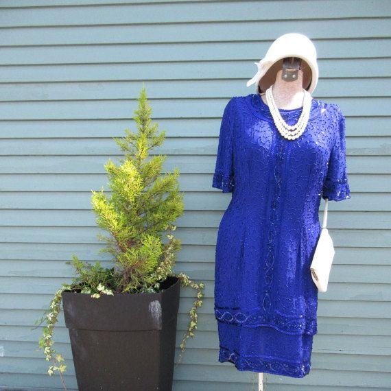 70s Blue Beaded Sequin Dress by LennysVintageVault on Etsy