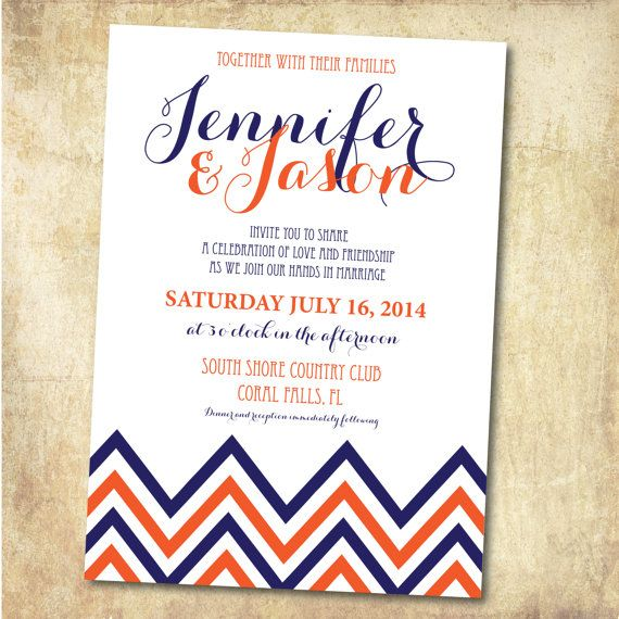 Chevron Wedding Invitation - Blue and Orange wedding, printed or printable on Etsy, $25.00