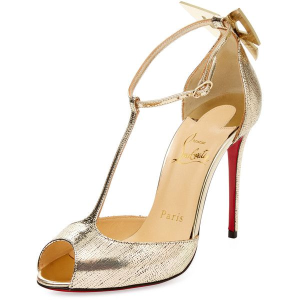 Christian Louboutin Women's Aribak Metallic Leather T-Strap Sandal -... ($719) ❤ liked on Polyvore featuring shoes, sandals, unknown, ankle tie sandals, ankle strap sandals, christian louboutin sandals, high heel shoes and leather t strap sandals