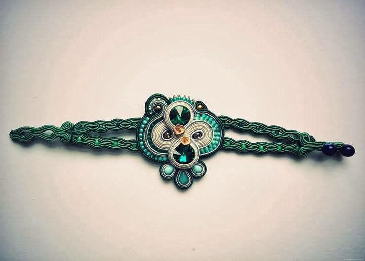 emerald green soutache bracelet / swarovski crystals / hand accesories