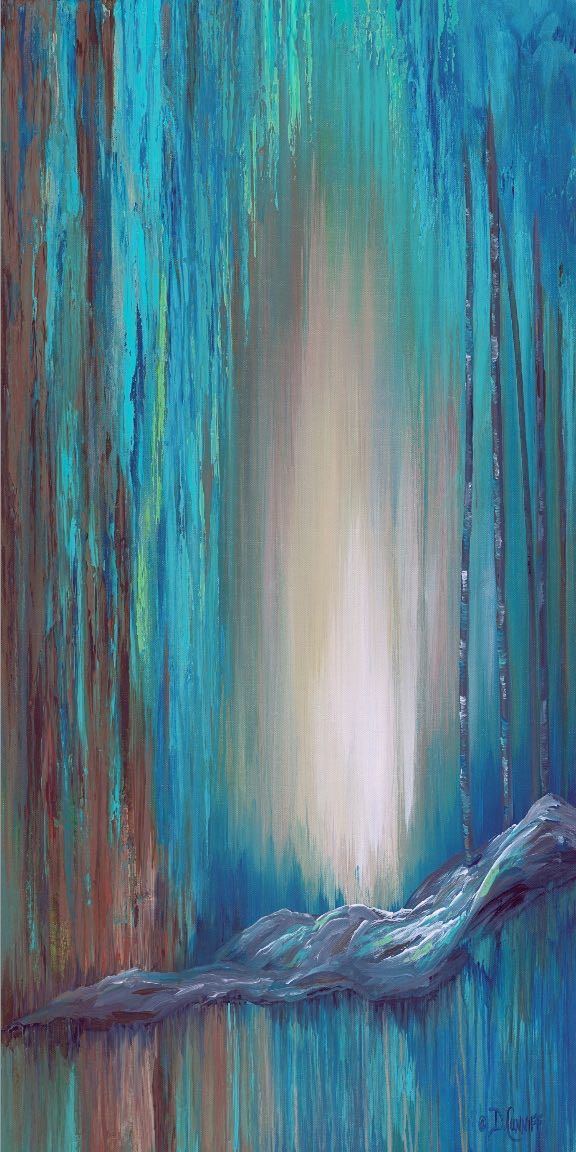 Turquoise Blue Brown And Teal Vertical Wall Art Canvas Abstract