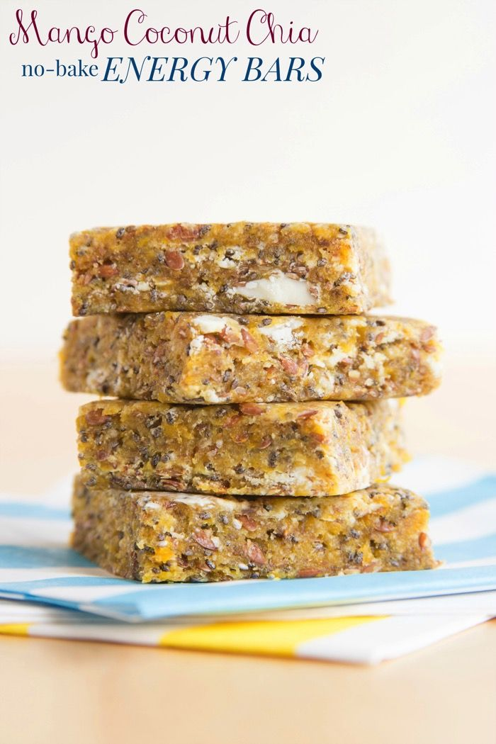 Mango Coconut Chia No-Bake Energy Bars - only six ingredients and a few minutes for a quick and easy healthy snack that transports you to a tropical island! #FindYourFun #BH #ad | cupcakesandkalechips.com | gluten free, dairy free, nut free, vegan