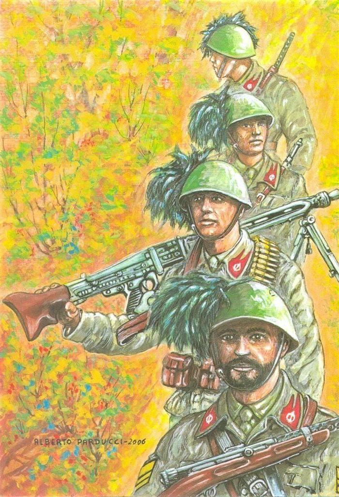 """R.S.I. FRONTE GIULIO - VALLE DEL BACCIA (GORIZIA) -- GIUGNO 1944 – BERSAGLIERI VOLONTARI DEL BATTAGLIONE """"BENITO MUSSOLINI"""" IN RICOGNIZIONE"""