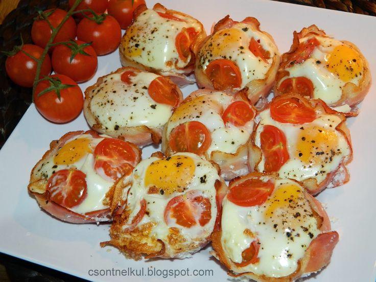 Hozzávalók (12 db-os muffin sütőhöz):  -12 szelet (lehetőleg rendes) sonka  -12 egész tojás  - tiszta só  -darált bors  - koktélpara...
