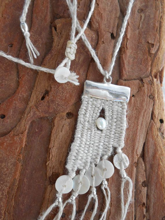 Linen Silver Pearl Hand woven mini Tapestry by manufabrica                                                                                                                                                                                 More