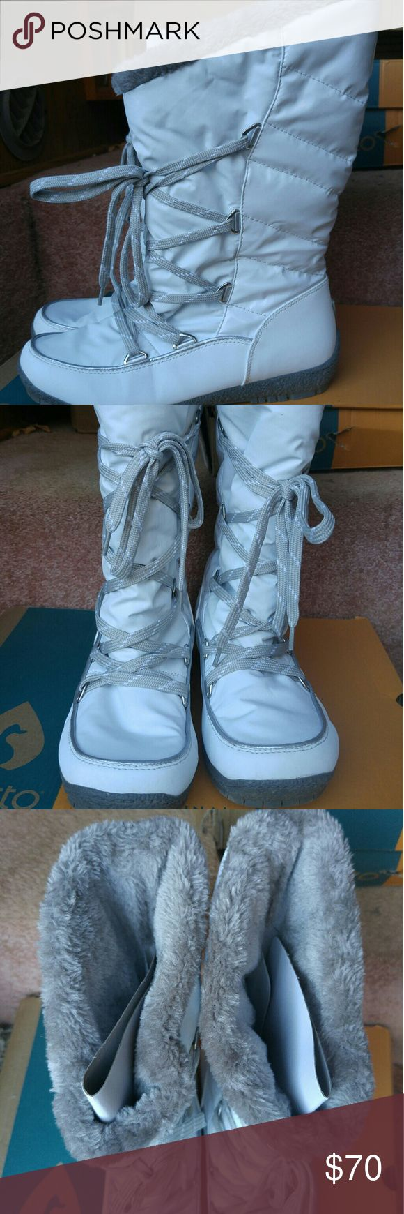 Women's Sporto Boots Style Charlie Great brand Sporto boot durable, waterproof, and stylish.  Made for comfort, warmth, and durability. White trimmed in gray with a gray fur lining. Size 9M Sporto Shoes Lace Up Boots