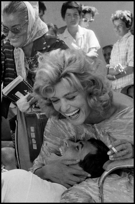 """GREECE. Hydra Island. 1961. Greek actress Melina MERCOURI and Anthony PERKINS during the filming of """"Phaedra."""" by C Manos"""