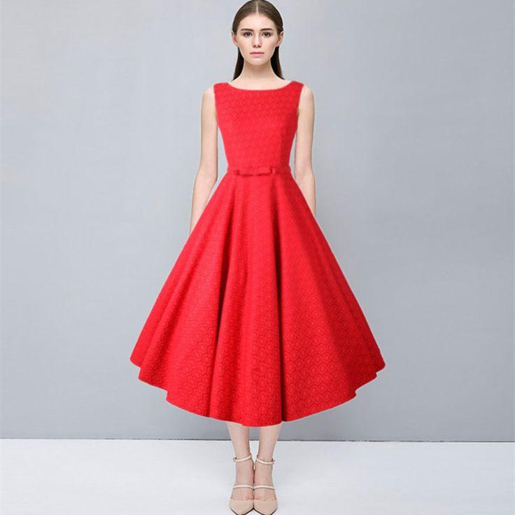 Vintage Dress Women Summer 2017 Elegant Crochet Lace 50s Retro Hepburn Sleeveless Rockabilly Robe Femme Tunic Vestido de Festa