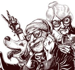 Granny Town - illustration for a hipster market event. By Lorenzo Milito