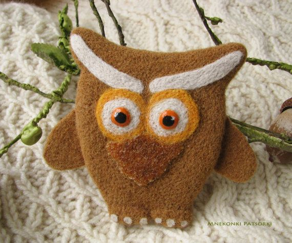 Handmade Brooch Owl Made to Order Needle Felting Owl Wool