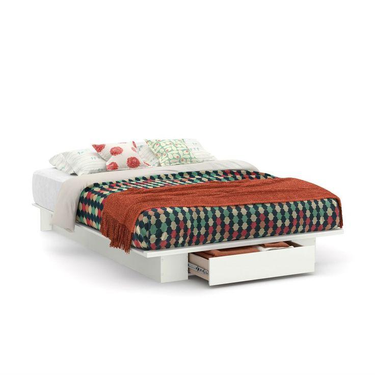 Queen Size White Modern Platform Bed Frame With Bottom Storage Drawer