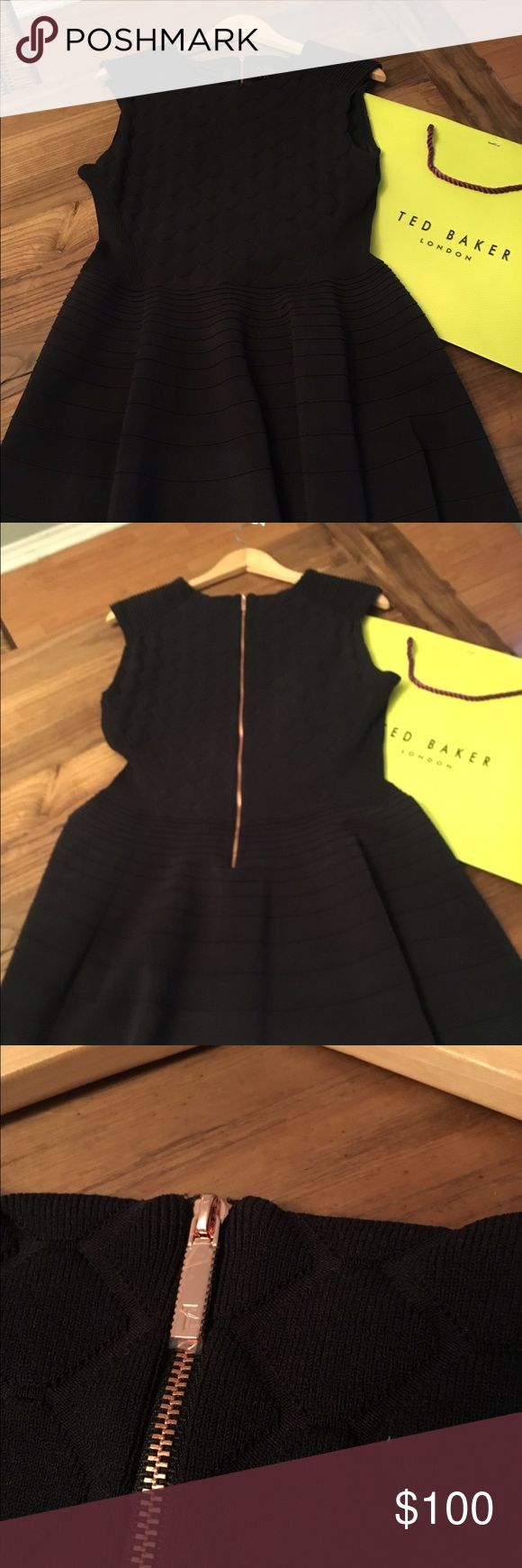 "Good Friday Sale🎉Black Ted Baker Dress💐🎉 Ted Baker Frinca Mix Knit Skater Dress. I just purchased Dress last month for and event and wore for a couple of hours! It's in excellent condition - like new. Plastic still on Zipper. This is a beautiful dress- very flattering textured knit dress and comfortable! It's a Size 5 which is equivalent to a size 12/14. I'm 5 2"" and dress hits my knees- Its 36 inches long. 17 in across in chest and 16 in waist. But it's knit so there is flexibility…"