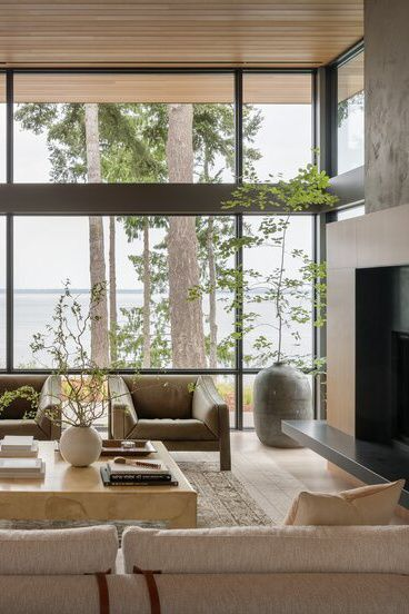 Living Room Plants, Living Room Windows, Formal Living Rooms, Home Living Room, Interior Design Living Room, Living Room Designs, Living Room Decor, Living Room Styles, Modern Windows
