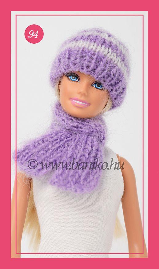 Lila-fehér csíkos, kötött Barbie sapka és sál