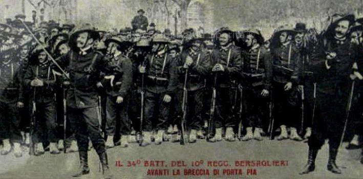 Breccia di Porta Pia, il 34°Battaglione del 10° reggimento Bersaglieri posa davanti alla Breccia Anno: successiva al 20 settembre 1870