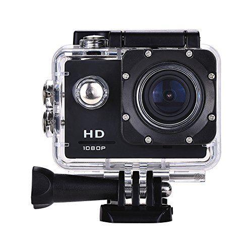 Lyhoon Cámara deportiva impermeable 1080P HD de 2.0 pulgadas de acción con la videocámara de kits de batería y Accesorios  Especificaciones: Pantalla(LCD): 2.0 pulgadas Lente: 120 grados lente gran angular Resolución: 1280 * 720 / 30fps Formato de vídeo: AVI Modo de grabación de vídeo: grabación de bucle Resolución de fotos: MAX5.0MP Almacenamiento: Tarjeta del TF, hasta 32 GB (no incluido)  Modo de disparo: Disparo único / automático / disparo continuo Temporizad