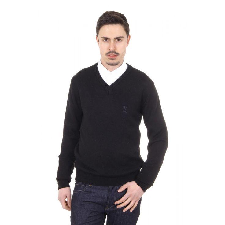 Versace 19.69 Abbigliamento Sportivo Milano mens V neck sweater 9803 SCOLLO V NERO