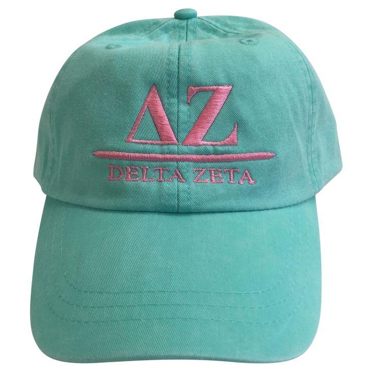 Delta Zeta (B) Sea Foam Baseball Hat with Coral Thread by GreekLifeStuff on Etsy https://www.etsy.com/listing/457323486/delta-zeta-b-sea-foam-baseball-hat-with