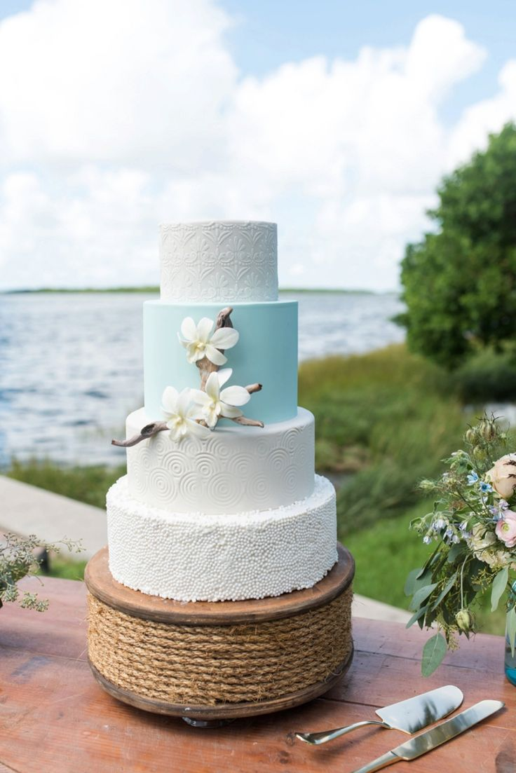 Hands on Sweets / Beach Wedding Cake Ocean Inspired Wedding Ideas via TheELD.com