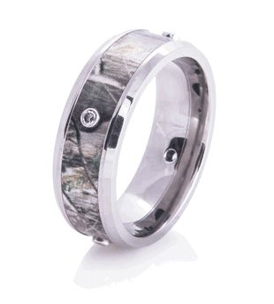 Camouflage Band w/ Diamonds - Camouflage Wedding Bands by Titanium-Buzz.com! It's different