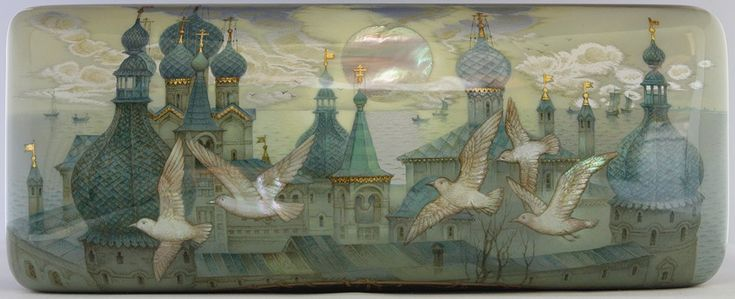 Kozlov Sergey, Fedoskino lacquer box, Ancient town Rostov The Great, 2016