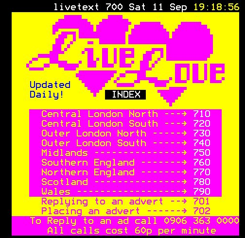 "teletextart: "" #teletextartoftheday Dating, Live Text, 1998. Sadly no topless weather, though. Source: http://www.teletext.org.uk """
