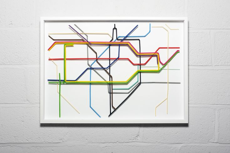 """Here's Zone 1 of the London Underground map made entirely from drinking straws. I particularly like the use of striped straws to simulate the double-stroked DLR and Overground lines from the real map. Clever work from artist Kyle Bean, who has heaps of amazing work on his website."""