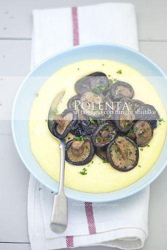 polenta con taleggio e funghi shiitake www.pane-burro.blogspot.com