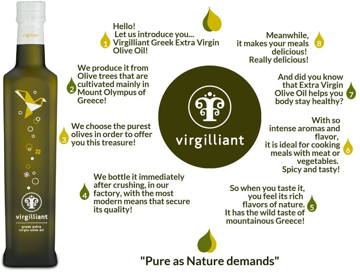 Extra Virgin Olive Oil from Greece! Pure as nature demands! Virgilliant Greek Olive Oil