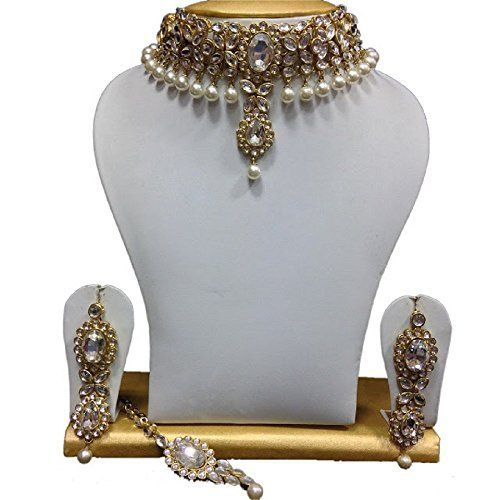 Indian Bollywood Fashionable CZ White Pearls Ethnic Gold Plated Kundan Necklace Jewellery Set VVS Jewellers, http://www.amazon.com/dp/B01IZGQUBI/ref=cm_sw_r_pi_dp_x_y8gGzb14NMVK7