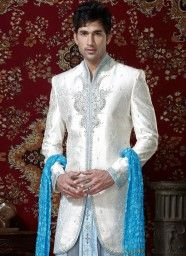 Off White And Blue Brocade Indo - Western Sherwani