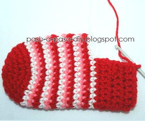 como se teje el talón de la media al crochet