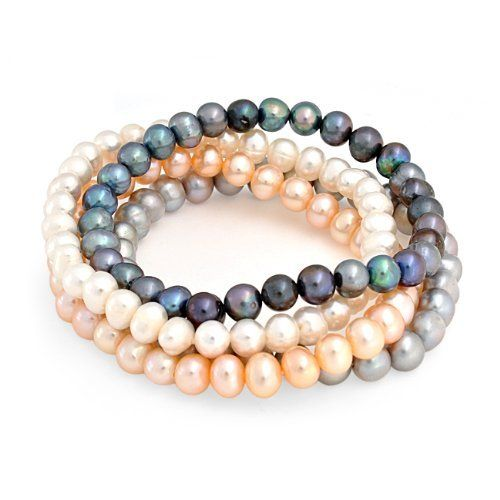 Valentines Day Gifts Bling Jewelry Set of 4 Freshwater Pearl Stretch Bracelet White Grey Pink Peacock 6mm Bling Jewelry. $29.99. White, grey, peacock, and pink pearls. 6mm Freshwater pearls. Stackable style. Fits up to 8in wrist. A set of 4 stretch bracelets. Save 52%!