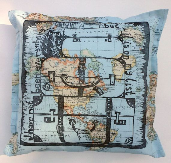 decorative pillow map of the world atlas by cushioncushion on Etsy