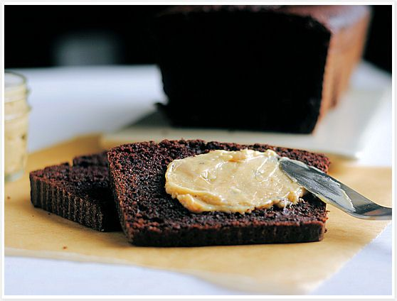 Chocolate Loaf with Peanut Butter Cream Cheese Spread