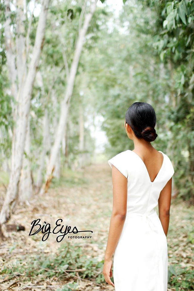 More from our recent photo shoot, v back slim gown in ivory crepe. Thanks to Bigeyes Fotography, Kate Korpi Salon and the gorgeous Sovannaphoung modelling for us