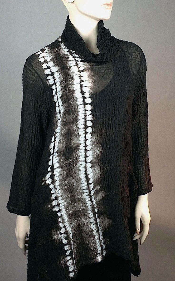 Deep Pecan Color double Ori Nui Shibori Cowl neck pocket pullover medium