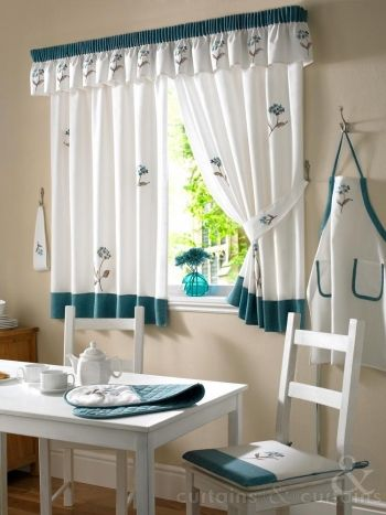 Yasmine Teal Floral Embroidered Kitchen Curtain Kitchen